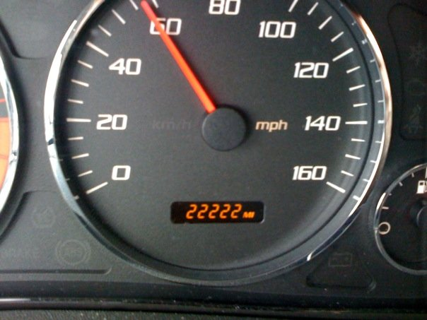 Odometer rolling over to 22222 miles. Taken on 2/22 while driving RR2222